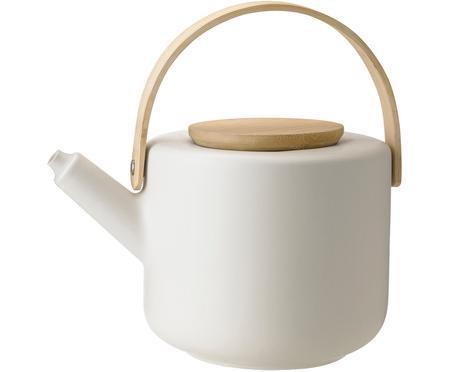 Steingut Teekanne Theo in Weiß matt, 1.25 L