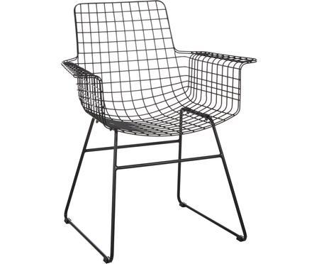 Sedia con braccioli in metallo Wire
