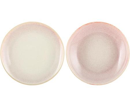 Handgemachte Frühstücksteller Amalia mit effektvoller Glasur, 2 Stück