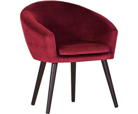 Samt-Armlehnstuhl Lino in Rot