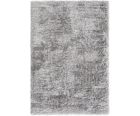 Glänzender Hochflor-Teppich Lea in Hellgrau