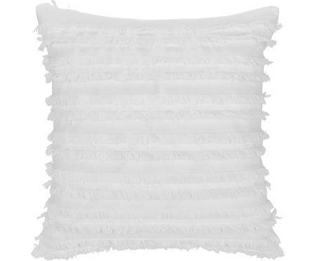 Kissenhülle Jessie in Weiß mit dekorativen Fransen