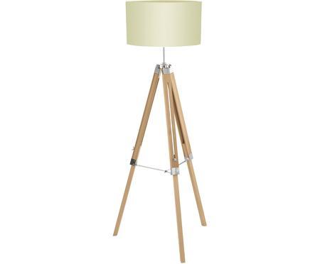 Vloerlamp Lantada van hout, in hoogte verstelbaar