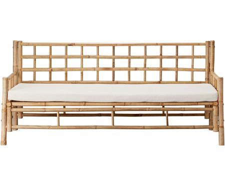 Sofa z drewna bambusowego z tapicerowanym siedziskiem (3-osobowa)