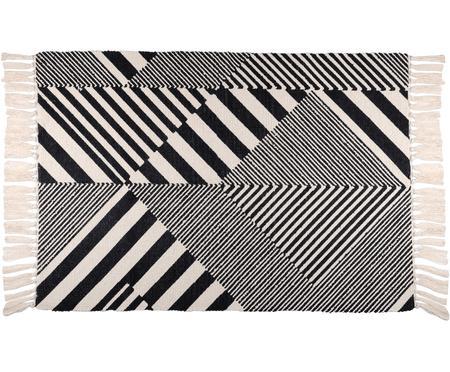 Baumwollteppich Beely mit grafischem Muster in Schwarz/Weiß