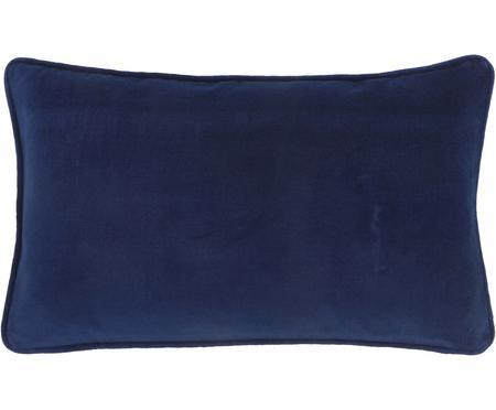 Einfarbige Samt-Kissenhülle Dana in Marineblau