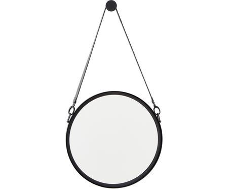 Miroir mural rond avec lanière en cuir noir Liz