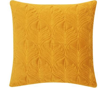 Gewatteerde fluwelen kussenhoes Celine met fijn patroon