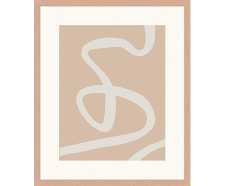 Gerahmter Digitaldruck Abstract Beige Drawing