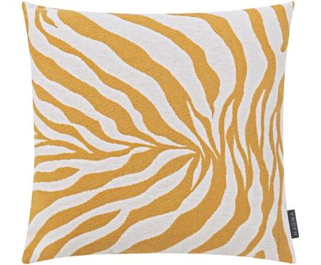 Kissenhülle Sana mit Zebra Print in Gelb/Weiß