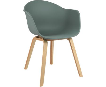 Chaise à accoudoirs en plastique avec pieds en bois Claire