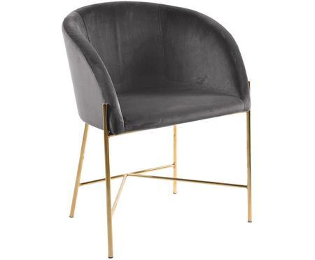 Chaise en velours et à accoudoirs, style moderne Nelson