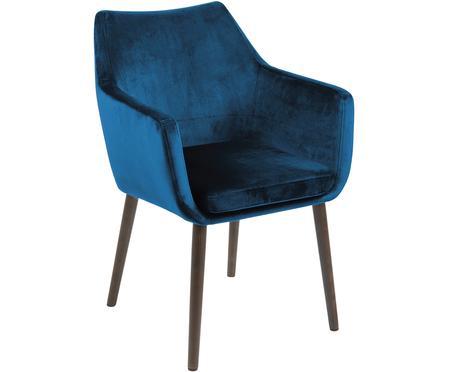 Krzesło z podłokietnikami z aksamitu Nora