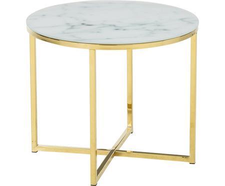 Odkládací stolek smramorovanou skleněnou deskou Aruba