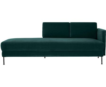 Chaise longue in velluto verde scuro Fluente