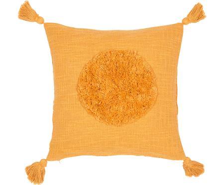 Grob gewebte Kissenhülle Sun aus Bio-Baumwolle mit Tasseln
