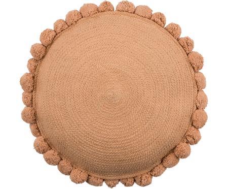 Cuscino rotondo in juta con imbottitura Pom Pom