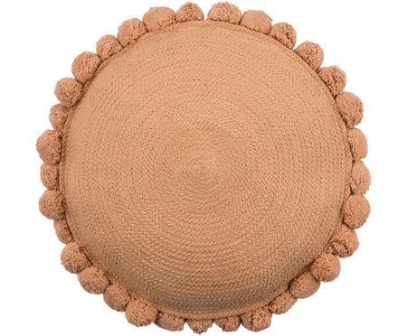 Okrągła poduszka z juty z wypełnieniem Pom Pom