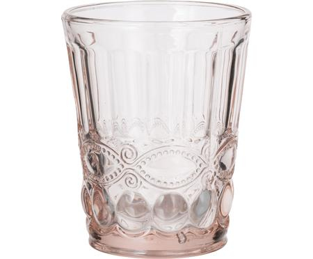 Wassergläser Solange in Rosa mit Relief, 6 Stück