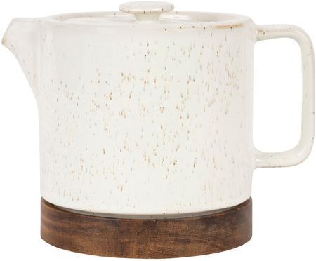 Steingut Teekanne Nordika mit Akazienholzsockel, 700 ml