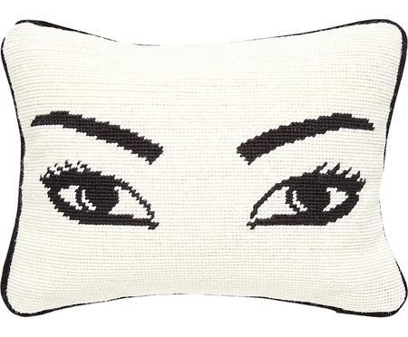 Kleines handbesticktes Designer-Kissen Eyes, mit Inlett