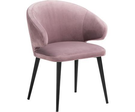Chaise moderne en velours et à accoudoirs Celia