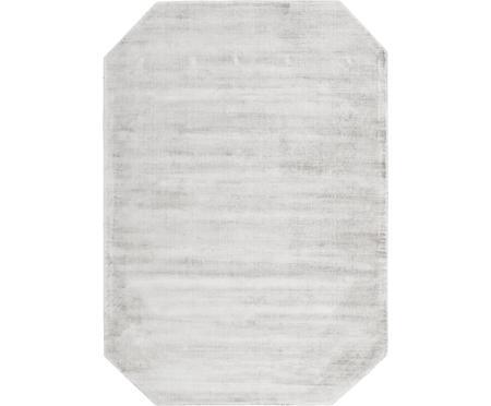 Handgewebter Viskoseteppich Jane Diamond in Hellgrau-Beige