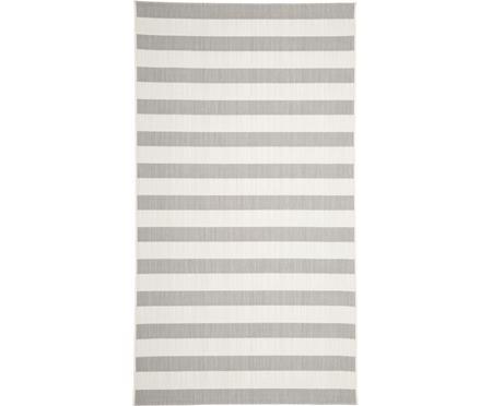 Gestreifter In- & Outdoor-Teppich Axa in Grau/Weiß