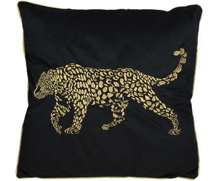 Besticktes Samt-Kissen Majestic Leopard in Schwarz/Gold, mit Inlett