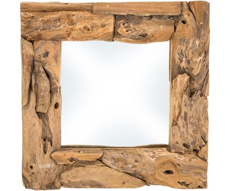 Eckiger Spiegel Noah mit Teakholzrahmen