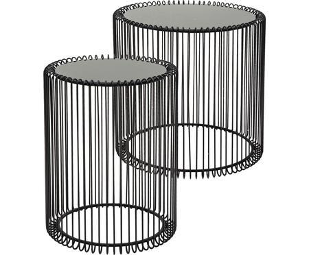 Tables d'appoint avec plateau en verreWire, 2élém.