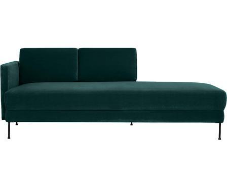 Chaise longue in velluto verde scuro Fluente