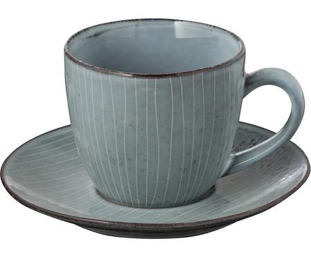 Handgemachte Tasse mit Untertasse Nordic Sea