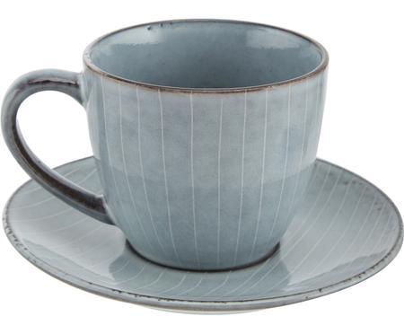 Handgemachte Tasse mit Untertasse Nordic Sea aus Steingut