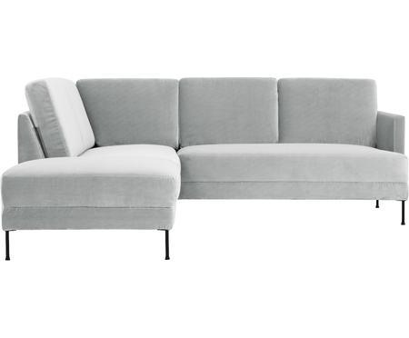 Divano angolare in velluto grigio chiaro Fluente