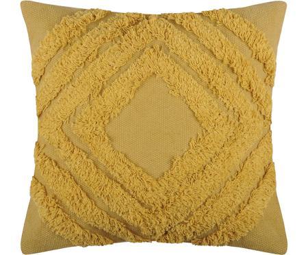 Gelbes Kissen Mona mit getufteter Verzierung, mit Inlett