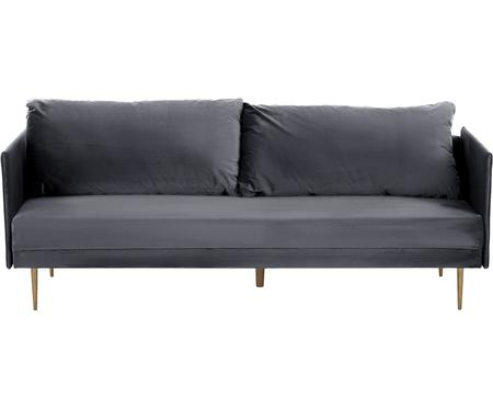 Divano letto in velluto grigio Lauren