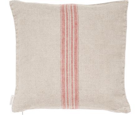 Beige Leinen-Kissenhülle Jara mit roten Streifen