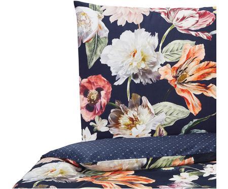 Baumwollsatin-Wendebettwäsche Filou mit Blumen-Muster