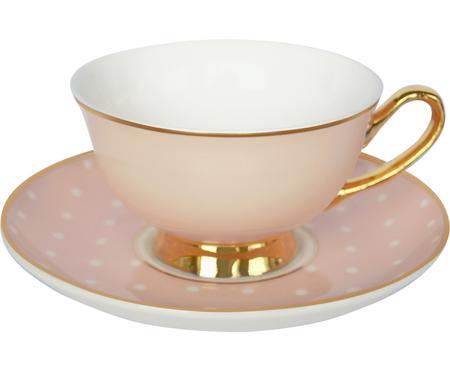 Tasse à thé avec sous-tasse à pois et ornements dorés Spotty, 2élém.