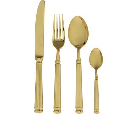 Goldfarbenes Besteck Elegance mit Rillenstruktur am Griff, 4-teilig