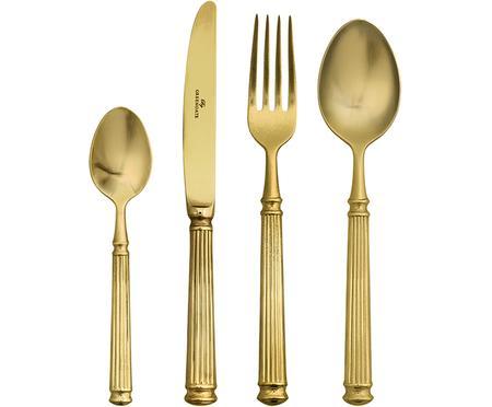 Goudkleurige bestek Elegance met groefstructuur aan handvat, 4-delig