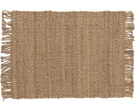 Handgefertigter Jute-Teppich Cadiz mit Fransen