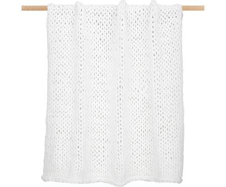 Grobstrick-Decke Adyna in Weiß