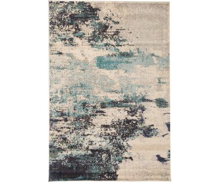 Designteppich Celestial in Blau-Creme