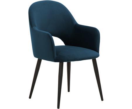 Krzesło z podłokietnikami z aksamitu Rachel