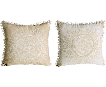Gemustertes Kissen-Set Paloma mit verzierenden Bommeln, mit Inlett