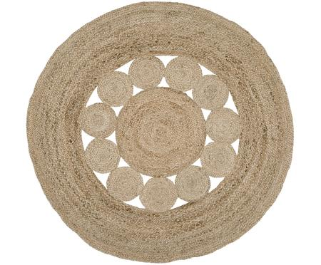 Runder Jute-Teppich Tapu im Boho Style, handgefertigt