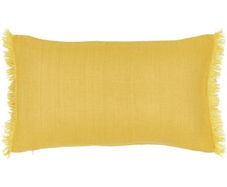 Leinen-Kissenhülle Luana in Gelb mit Fransen