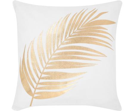 Housse de coussin blanche imprimé plume dorée Light